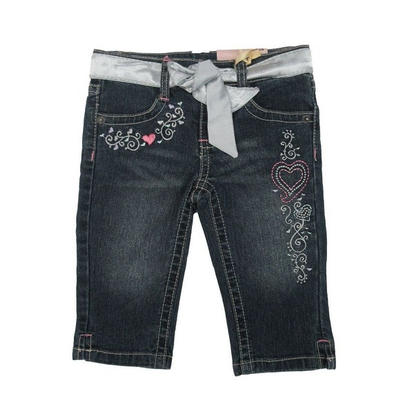 04860d9a Shop Jet Little Girls Blue Embroidered Belt Cotton Denim Trendy Pants -  Free Shipping On Orders Over $45 - Overstock - 18166966