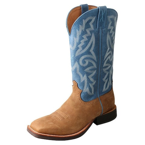 """Twisted X Western Boots Mens 14"""" WS Toe Leather Tan Sky Blue"""