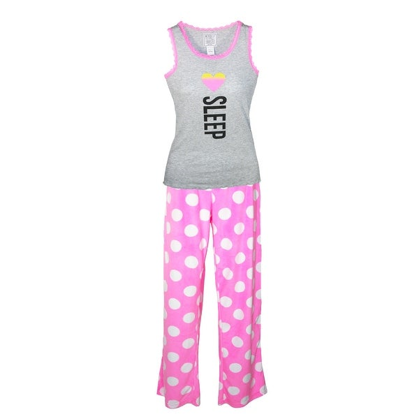 Mentally Exhausted Ladies Tank and Pant I Love Sleep Pajamas - Grey