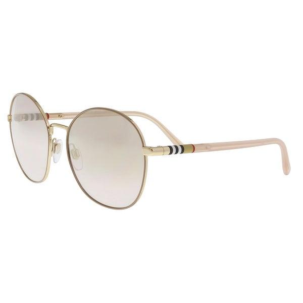 896b4629018 Shop Burberry BE3094 125871 Gold Round Sunglasses - 56-17-140 - Free ...