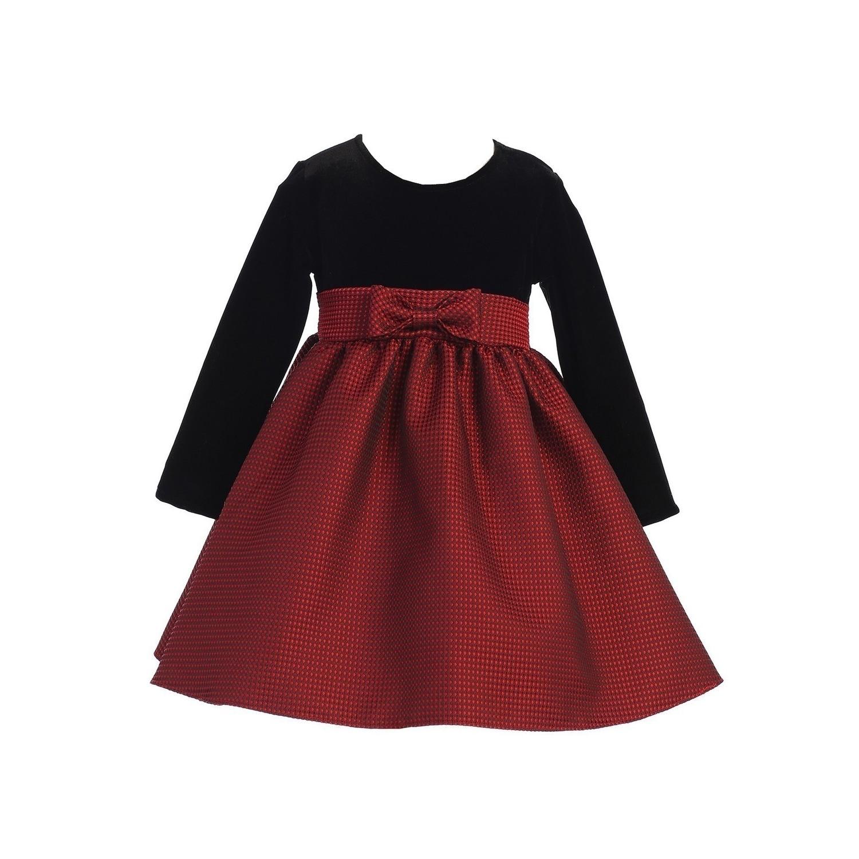 Lito Baby Girls Red Black Velvet Jacquard Long Sleeved Christmas Dress