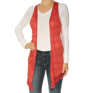 Womens Red Striped Sleeveless Open Cardigan Vest Sweater Size XS