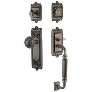 Grandeur WINWIN_ESET_234_FG  Windsor Solid Brass Rose Keyed Entry Single Cylinder Sectional 'F' Grip Handleset with Windsor Knob