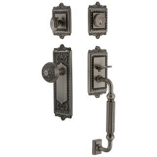 Grandeur WINWIN_ESET_238_FG  Windsor Solid Brass Rose Keyed Entry Single Cylinder Sectional 'F' Grip Handleset with Windsor Knob