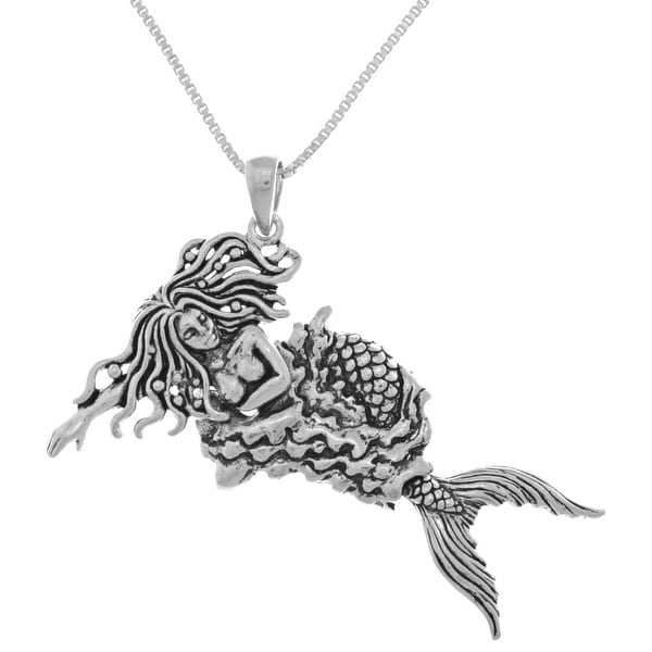 Sterling Silver Moveable Swimming Mermaid Pendant. Opens flyout.