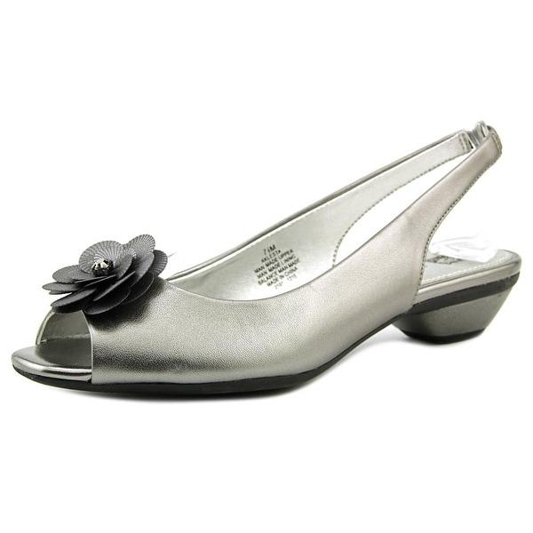 Anne Klein Lesta Women Open-Toe Synthetic Gray Slingback Heel