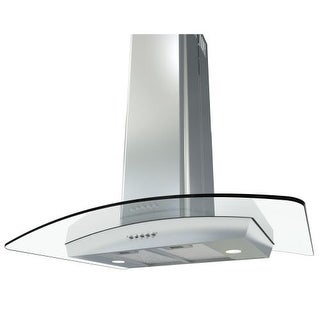 Miseno MH00436G 750 CFM 36 Inch Stainless Steel Island Range Hood with Dual Halogen Lighting System and Glass Accent