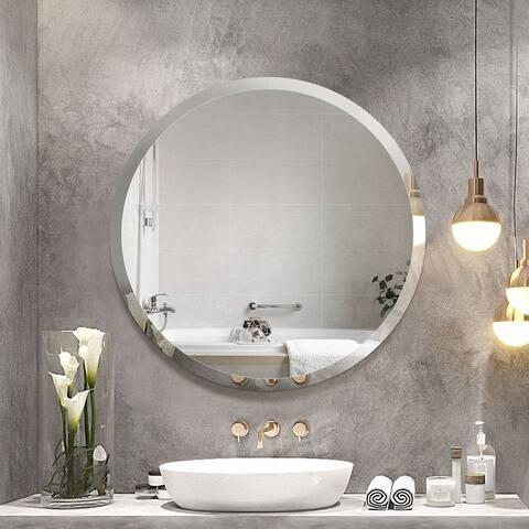 Porch & Den Salix Beveled Frameless Round Wall Mirror
