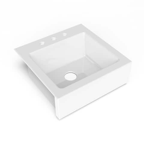 Anna QuickFit Drop-in Farmhouse Fireclay 25.85 in. 3-Hole Single Bowl Kitchen Sink in Crisp White