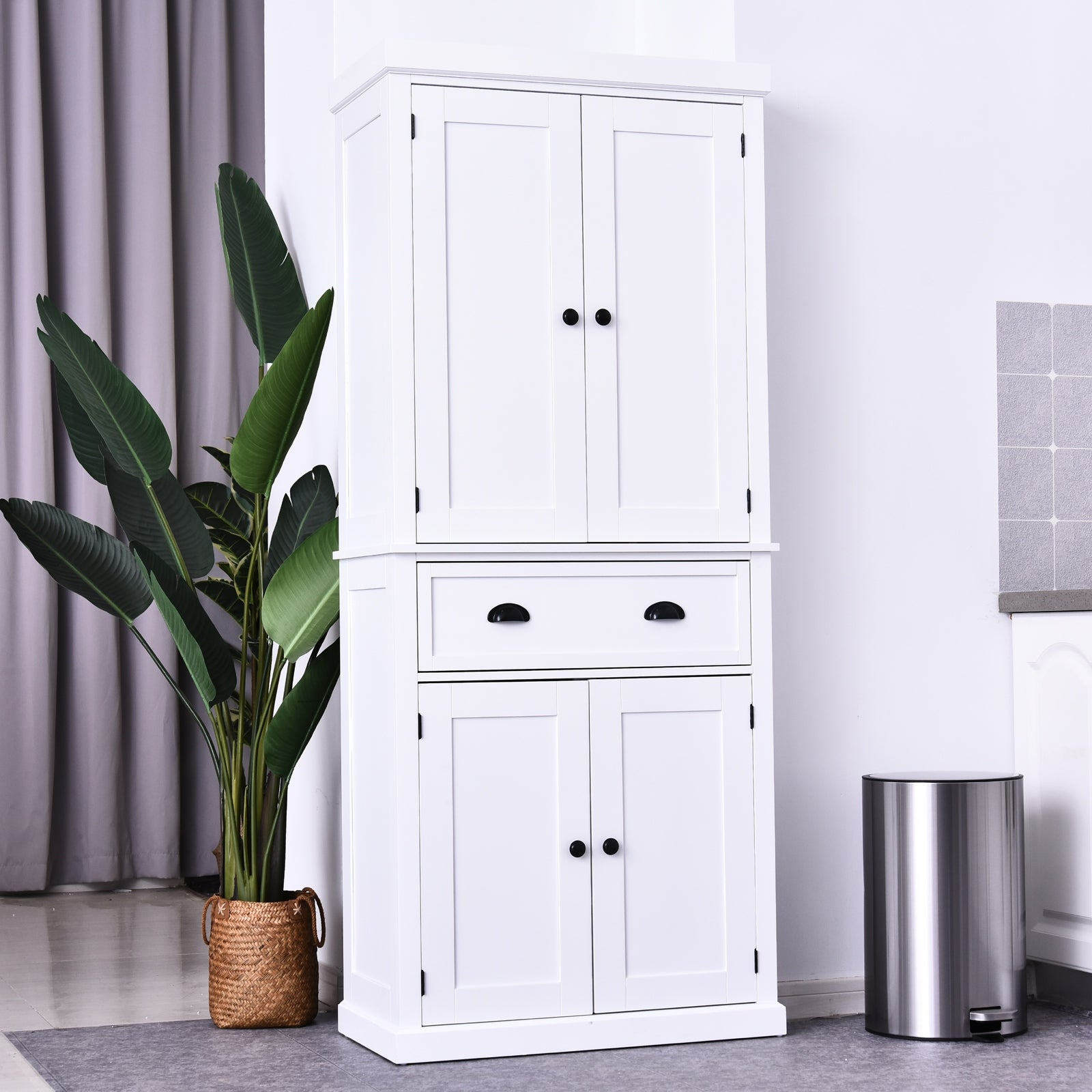 Homcom 72 Inch Traditional Freestanding Kitchen Cupboard Pantry Cabinet N A On Sale Overstock 30570079