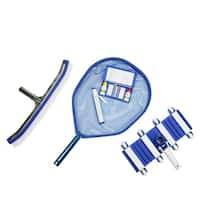 5-Piece Deluxe Swimming Pool Kit - Vacuum, Leaf Skimmer, Wall Brush, Thermometer and Test Kit - Blue