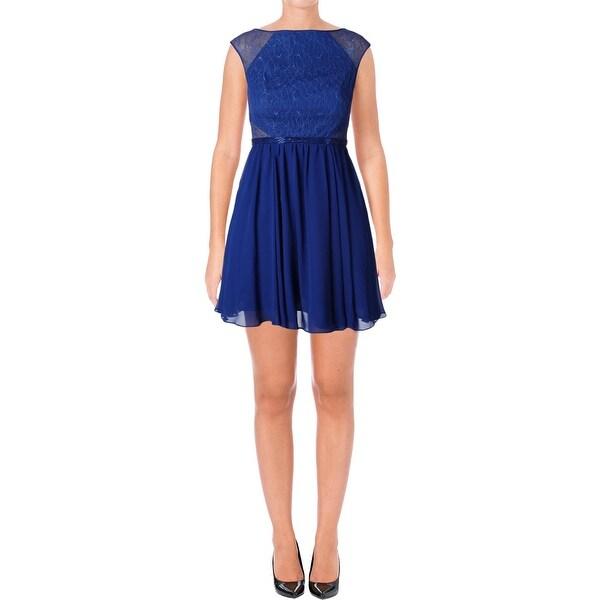 Aqua Womens Cocktail Dress Lace Beaded