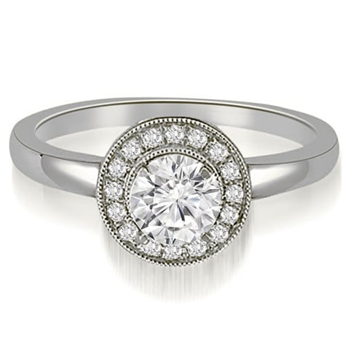 0.60 cttw. 14K White Gold Classic Round Cut Halo Diamond Engagement Ring
