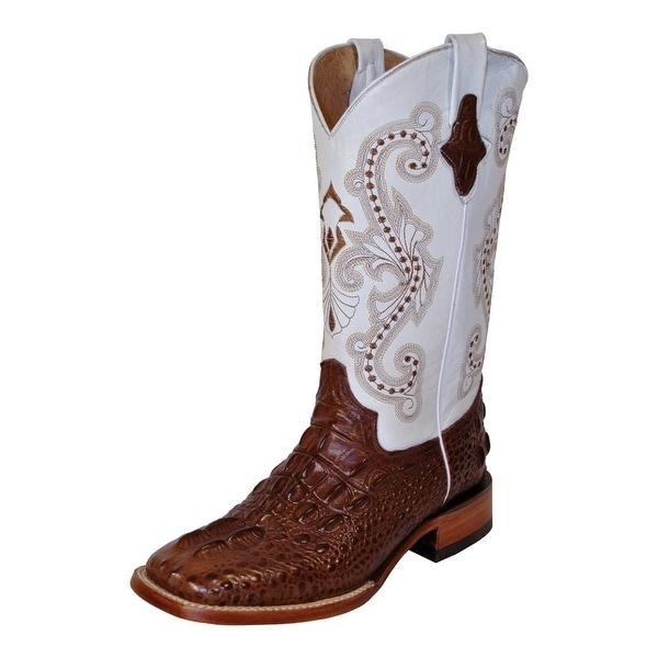 dbeb59c2181 Ferrini Western Boots Womens Hornback Caiman Chocolate White