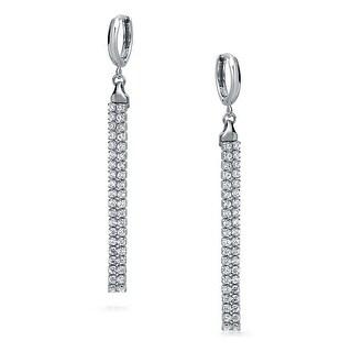 Bling Jewelry 925 Sterling Silver Cubic Zirconia Parallel Drop Earrings