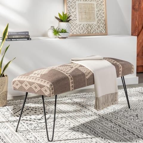 "Heria Modern Bohemian Upholstered Bench - 18""H x 48""W x 16""D"