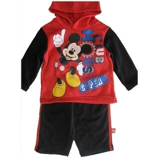 Disney Baby Boys Red Black Mickey Mouse Club Print Hooded 2 Pc Pants Set 12-24M