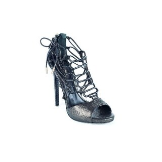 Roberto Cavalli Womens Graphite Effect Caged Leather Sandals