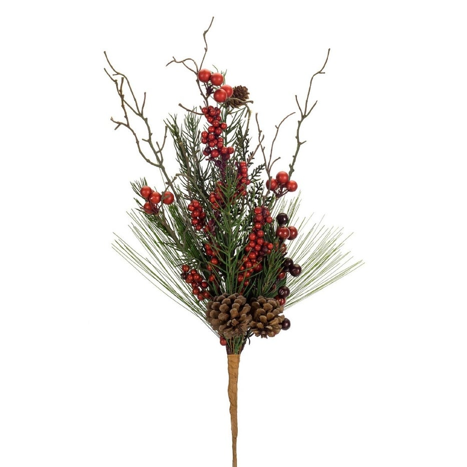 Club Pack Of 12 Pickle Green And Red Artificial Pine Cone Magnolia Leaf Berry Spray 23 Brown Overstock 22465344