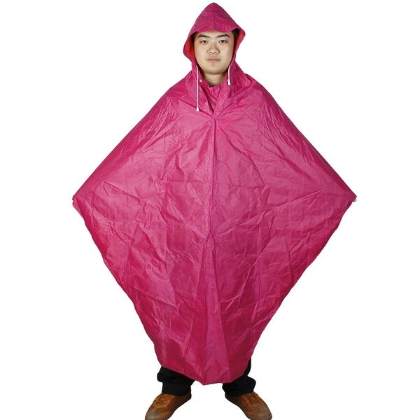 Unique Bargains Adult Plastic Hooded Bicycle Scooters Raincoat Poncho Amaranth