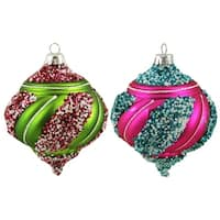 2ct Colorful Beaded Twist Matte Shatterproof Christmas Onion Ornaments 5""