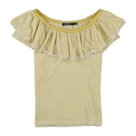Ralph Lauren Womens Ruffle Stripe Pullover Sweater, Yellow, Large
