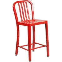 """Brimmes 25"""" High Metal Counter Stool Red w/Vertical Slat Back"""