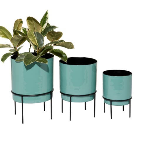 "Teal Round Metal Planters Set Of 3 10"" 13"" 14"" - x x"