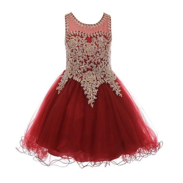 cf52af2ee7 Shop Little Girls Burgundy Gold Coil Lace AB Rhinestone Flower Girl Dress -  Free Shipping Today - Overstock - 23564714