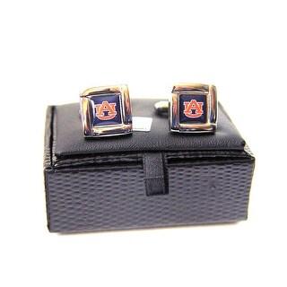 NCAA Auburn Tigers Square Cufflinks with Square Shape Logo Design Gift Box Set