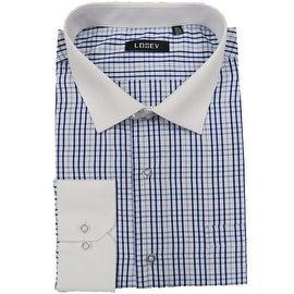Men's Regular/Fashion Fit Long-Sleeve Multi Pattern Botton-Front Dress Shirt (Blue Large Plaid)