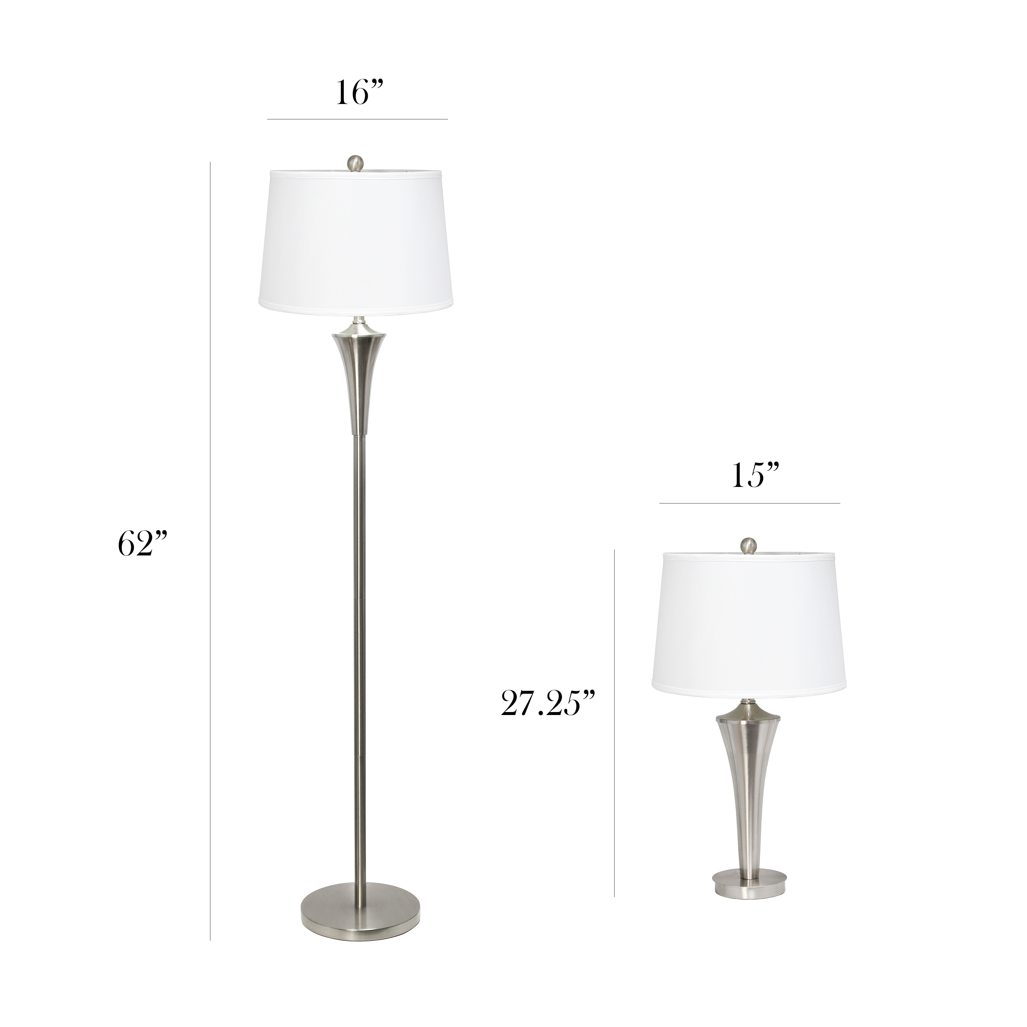 Lamp Set 2 Table Lamps 1 Floor