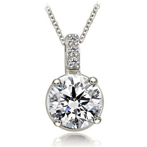 0.53 cttw. 14K White Gold Round Cut Diamond 4-Prong Basket Solitaire Pendant