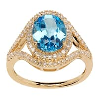 3 1/3 ct Natural Swiss Blue Topaz & 3/8 ct Diamond Ring in 14K Gold