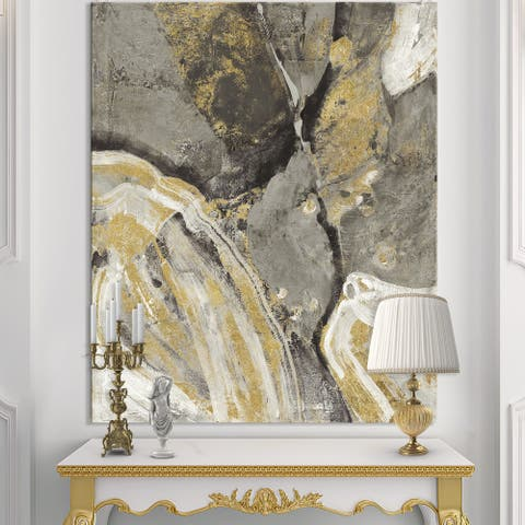 Designart 'Glam Phoenix Neutral' Modern Glam Premium Canvas Wall Art - Grey
