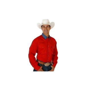 Roper Western Shirt Mens L/S Tall Solid Button Red 06-001-0812-0160 RE
