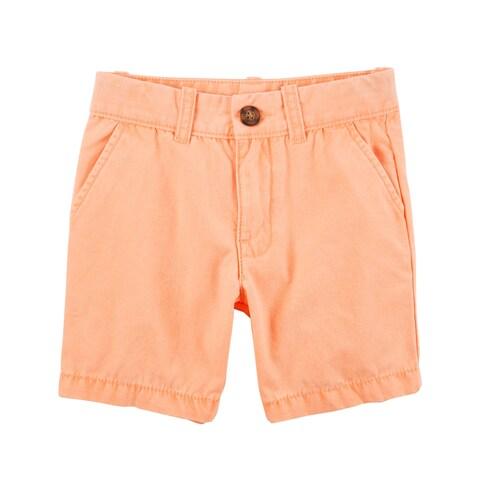 Carter's Boys' Flat Front Canvas Shorts- Orange- 12 Months