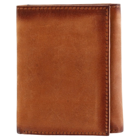 CTM® Men's Hunter Leather Flip Trifold Wallet with Burnished Edges - one size