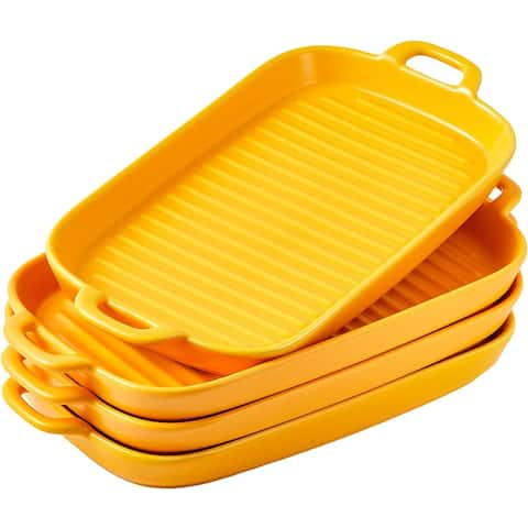 Bruntmor Set Of 4 Ceramic Matte Glaze Baking Dish Dinner Plates, Oven Safe Lasagna Pan With Handle Rectangular Dish