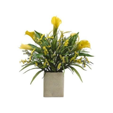 Allstate Floral WF3486-YE-TT 25 in. Hx20 in. Wx24 in. L Calla Lily-Statice-Grass in Rectangular Vase Two Tone Yell