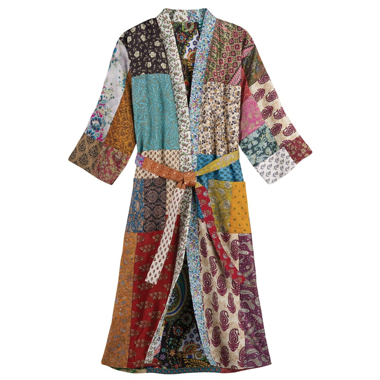 Handmade boho style Indian silk sari patchwork bathhouse robe