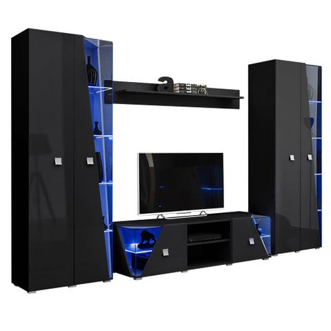Edge Set TV-BK-BK-SH Modern Wall Unit Entertainment Center