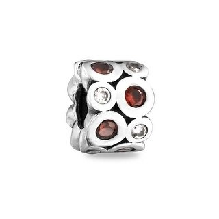 Bling Jewelry Red CZ 925 Sterling Silver Bead Charm