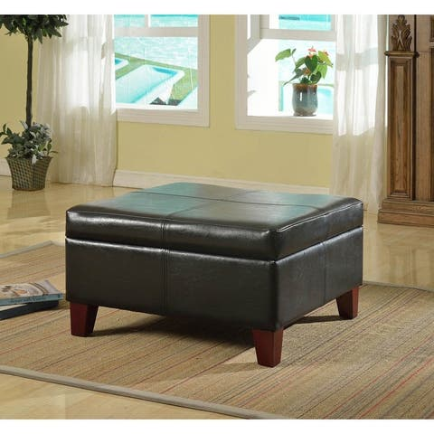 Copper Grove Silene Luxury Large Black Faux Leather Storage Ottoman Table