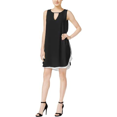 Bar III Women's Black Chiffon Cutout Mini Cocktail Sheath Dress (M) - Medium