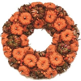 """15"""" Autumn Harvest Decorative Orange and Brown Woven Corn Leaf Pumpkins Artificial Wreath - Unlit"""