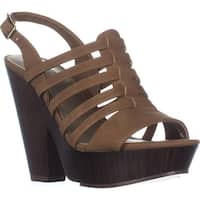 G by GUESS Seany2 Platform Gladiator Sandals, Medium Natural