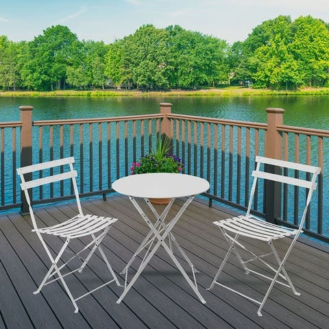 Pyramid Home Decor 3 Piece Foldable Steel Bistro Set