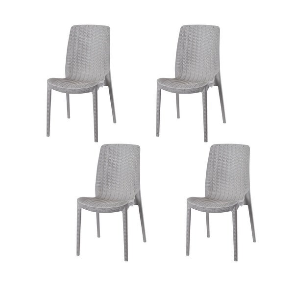Rue Stackable Resin Rattan Patio Dining Chairs (Set of 4). Opens flyout.