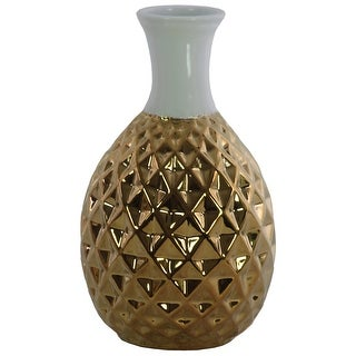 Round Ceramic Belied Vase with Engraved Diamond Pattern, Chrome Gold